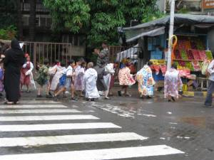 School children after the rain